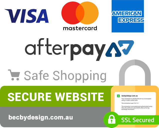 secure check out and payment methods accepted. visa, mastercard, amercian express and afterpay